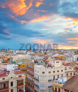 Sunset skyline of Valencia. Spain