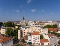 Aerial Belgrade cityscape in Serbia