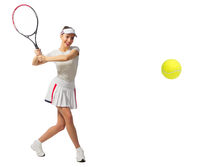 Young girl tennis player isolated (with ball ver)