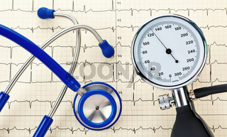 Blood pressure monitor, stethoscope and EKG curve