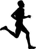 Black Silhouettes Runners sprint men on white background