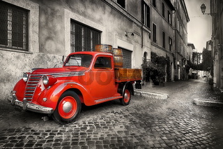 Red retro car