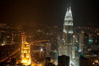 Top View Kuala Lumpur city skyline in night