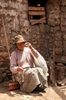 Bäuerin in Südamerika