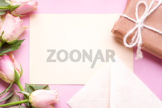 Message card with flowers and gift