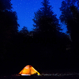 Illuminated orange tent at night in the forest