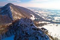 Kalnik mountain winter aerial view