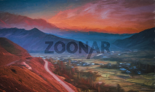 Painting of the road through the Alamut mountains