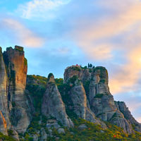Rocks and St. Stephen monastery in Meteora