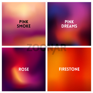 Abstract vector red pink blurred background set 4 colors set. Square blurred backgrounds set - sky clouds sea ocean beach colors
