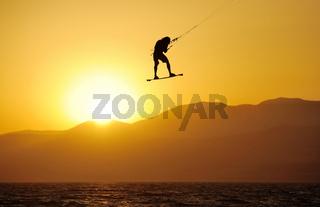 Sky-surfing on lake Kinneret