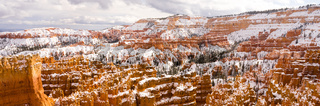 Fresh Snow Blankets Bryce Canyon Rock Formations Utah USA