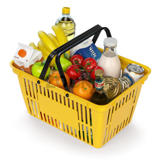 Shopping basket with variety of grocery products isolated on white background.