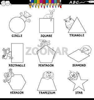educational shapes set with animals color book