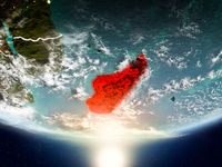 Madagascar with sun on planet Earth