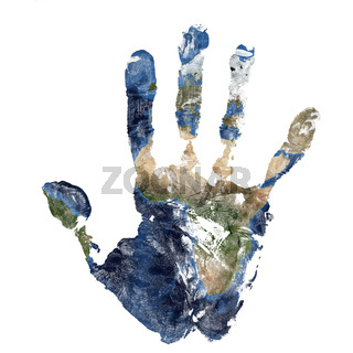 Real hand print combined with a map of Africa of blue planet Earth. Elements of this image furnished by NASA