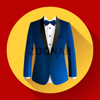 Dark blue man suit Vector icon