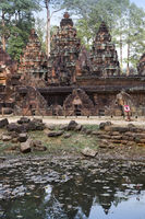Banteay Srey Temple ruins (Xth Century)  on a sunset