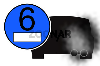 graphic blue sticker with automobile exhaust