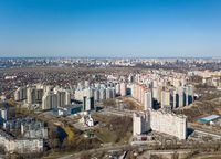 Panorama view of the city in spring on a sunny day