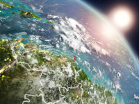 Caribbean from space during sunrise