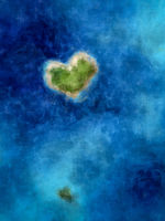 a heart shaped island in the deep blue sea