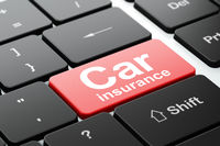 Insurance concept: Car Insurance on computer keyboard background