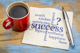 meaning of successword cloud on napkin