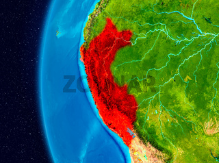 Space view of Peru in red