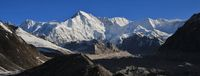 Majestic mountain Cho Oyu and moraine of the Ngozumpa glacier.