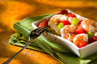 Close up of shrimp salad