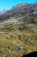 Der weitverstreute Weiler Findeln oberhalb von Zermatt, Wallis, Schweiz