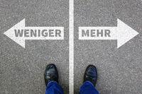 Weniger ist mehr Verzicht verzichten besser Leben Konzept Entscheidung