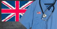 Blue scrubs with UK British flag for immigrant healthcare
