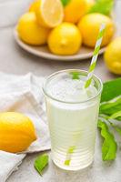 Lemonade. Drink with fresh lemons. Lemon cocktail with juice.