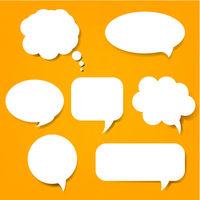 Speech Bubble Set And Orange Background