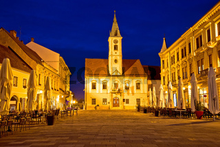 Varazdin baroque square evening view