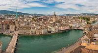 Zurich high angle view city skyline panorama at Limmat River, Zurich, Switzerland