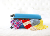 Clothes and accessories in turquoise suitcase