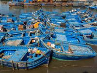 Blue fishing boats in Essaouira port