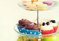 close up of cake stand with cupcakes and cookies
