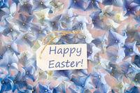 Sunny Hydrangea Flat Lay, Text Happy Easter