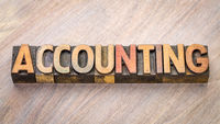 accounting word abstract in wood type