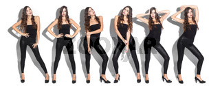 model posing on a white background, collage