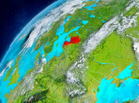 Space view of Latvia in red