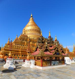 Golden Shwezigon Pagoda in Bagan Myanmar