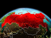 Russia on planet Earth in space