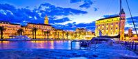Split landmarks evening blue panoramic view