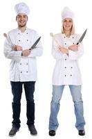 Koch Köche jung Azubi Azubis Ausbildung Auszubildender stehen kochen Beruf Freisteller