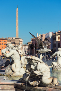 Fountain on Piazza Navona. Rome, Italy.